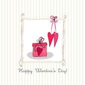 Romantic background with gift box — Stok Vektör