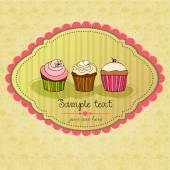 Retro cupcakes card — Stock Vector