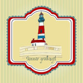 Summer background with lighthouse — Stock Vector