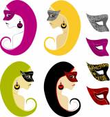Set of girls with masks — Stock Vector
