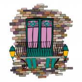 Brick wall with balcony — Stock Vector