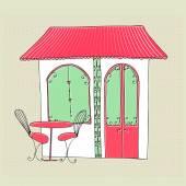 Cute street cafe — Stock Vector