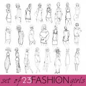 Set of beautiful fashion girls — Vector de stock