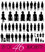 Big set of silhouettes — Stock Vector