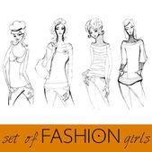 Set of stylized fashion models — Stock Vector
