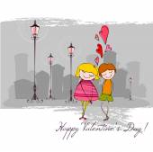 Background with couple for Valentine's day — Stock vektor
