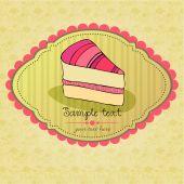 Cute retro cake card — Stock Vector