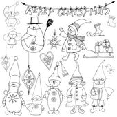 Christmas elements and elves — Stock Vector