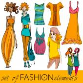 Set of fashion models and clothes — Vector de stock