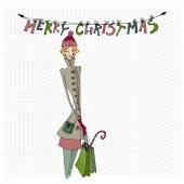 Christmas card with girl — Stock Vector