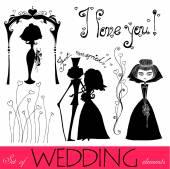 Elementos de casamento — Vetor de Stock