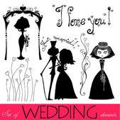 Wedding elements — Stockvektor