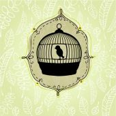 Nature background with birdcage — Stockvektor