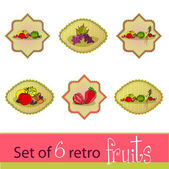 Set of cute fruits cards — Stock Vector