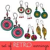 Set of retro earrings — Stock Vector
