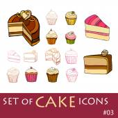 Set of cake icons — Stock Vector
