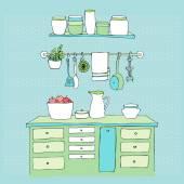 Kitchen interior — Stock Vector