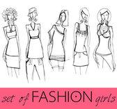 Set of elegant fashion models — Stock Vector