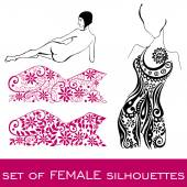 Set of female silhouettes — 图库矢量图片