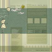 Website template wit little girl — Stock Vector