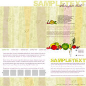 Website template with fruits and vegetables — Stock Vector