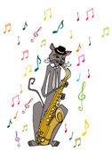Musician cat — Vetor de Stock