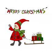 Christmas card design with  Christmas elf — Stock Vector