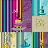 Set of greeting card designs with sailing boats — Stock Vector