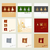 Set of Christmas trees for greeting card — Stock Vector