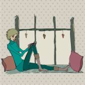 Cute girl reading in cozy room — Vecteur