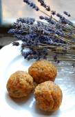 Carrot truffles with lavender on a plate — Stock Photo