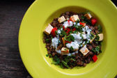 Lentils salad with grilled tofu — Stock Photo