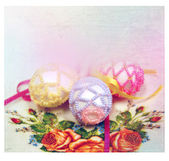 Easter background with colorful eggs — Stock Photo