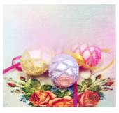 Easter background with colorful eggs — Stockfoto