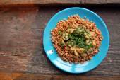Closeup of Pearl barley salad with grilled mushrooms — Stok fotoğraf
