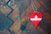 Vintage Valentine heart on wooden background — Stock Photo