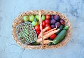 Vegetables and fruits in a basket — Stock Photo