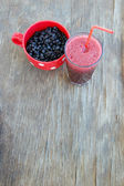 Blueberry Smoothie with fresh blueberries — Stock Photo