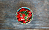 Fresh tomato salad with basil — Stock Photo