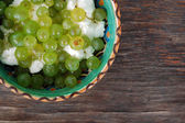 Grapes and curd cheese — Stock Photo