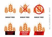Brown Vector Wheat Free Signs isolated on white background — Stock Vector