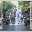 Wide waterfall  view in open window — Stock Photo #80183152