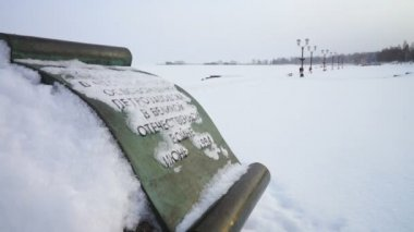 Memorable stone devoted to Petrozavodsk liberation — Vídeo de Stock