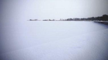 Frozen Onega lake embankment — Stock Video
