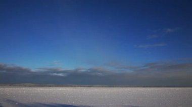 Port on frozen Onega lake — Stok video