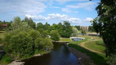 Garden with narrow river and small bridge — Stock Video