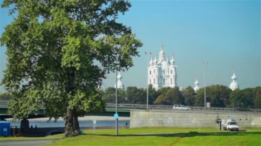 Scenic view on Smolensky Cathedral — Vídeo de Stock
