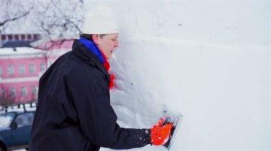Visitors of International Winter Festival Hyperborea 2014 — Stock Video