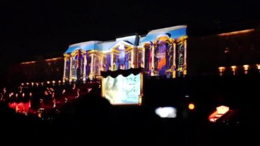 3D projection on Peterhof palace — Stock Video