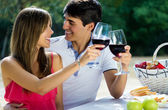Attractive couple drinking wine on romantic picnic in countrysid — Φωτογραφία Αρχείου